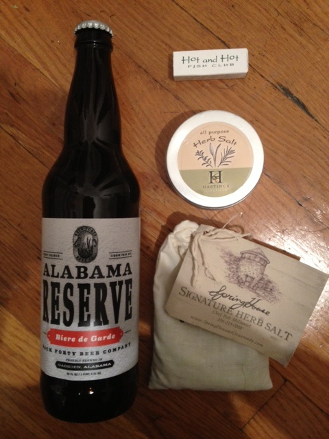 Alabama Reserve Craft Brewed Beer and Gourmet Herb Salts were among the goodies we were sent home with.