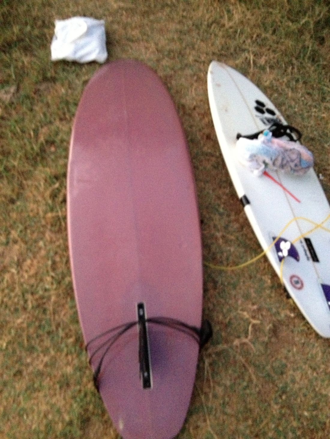 The itty bitty Joel Tudor single fin I rode/tried to ride my first day out on a short board.