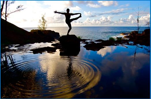 Michaelle practicing on beautiful Kauai where her school is based.